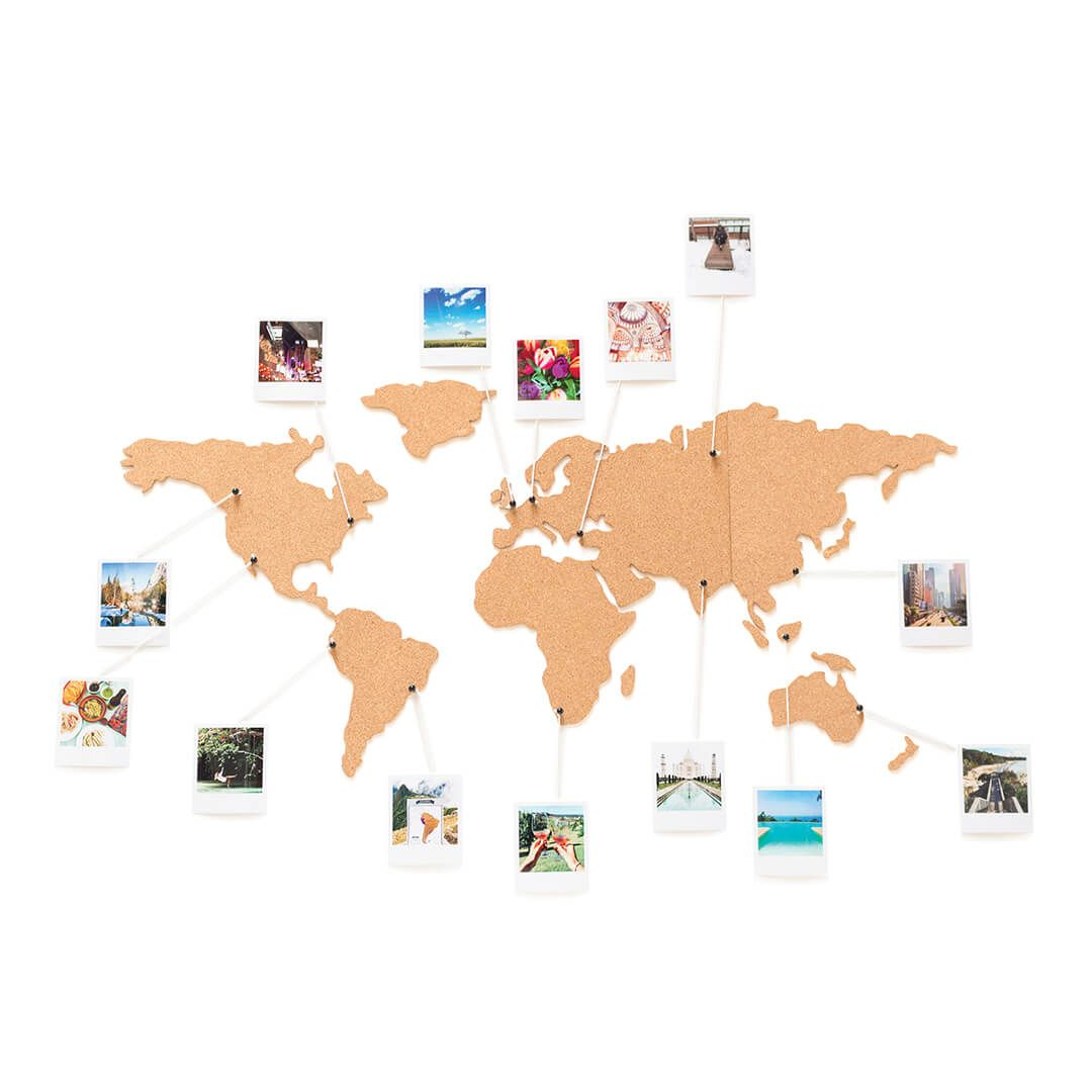 World wall map with a polaroid photo of everywhere ive been corkboard map is a self adhesive map of the world fashioned from cork which serves two important functions sciox Gallery