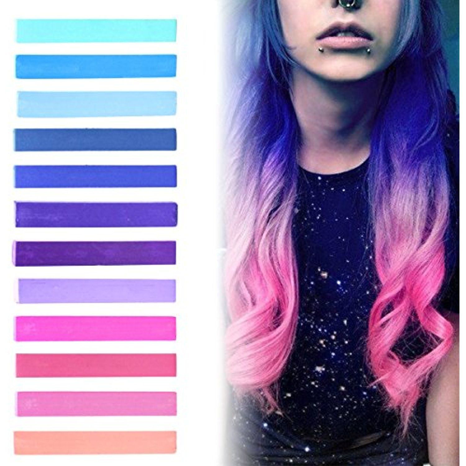 Best pink to blue ombre hair dye set of galaxy temporary hair