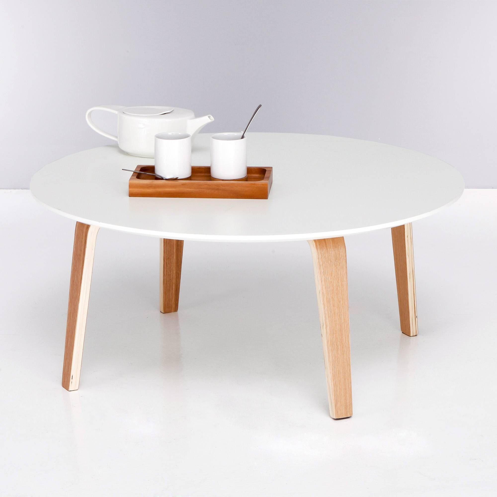 table basse ronde bi mati re plateau blanc pieds naturels. Black Bedroom Furniture Sets. Home Design Ideas