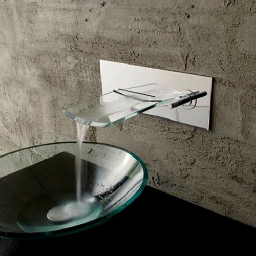 Modern Wall Mount Waterfall Vessel Sink Faucet Chrome Brass Glass Free Shipping Waterfall Sink Faucet Tub Faucet Sink Faucets