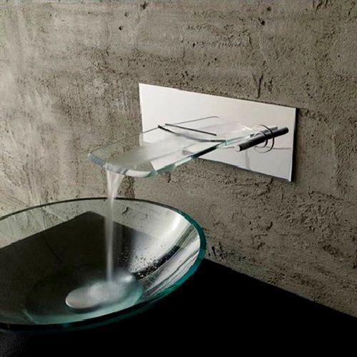 Modern Wall Mount Waterfall Vessel Sink Faucet Chrome Brass Glass