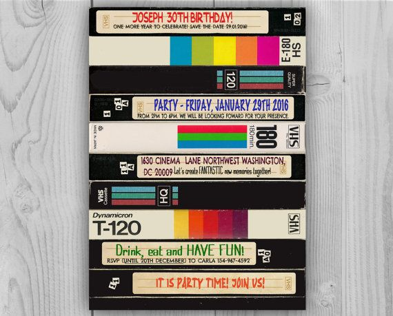 80s 90s Video Cassette Birthday Invitation
