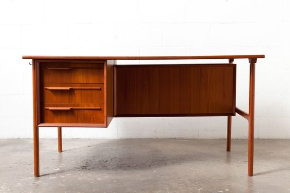Danish Mid Century Teak Desk With Bookshelf