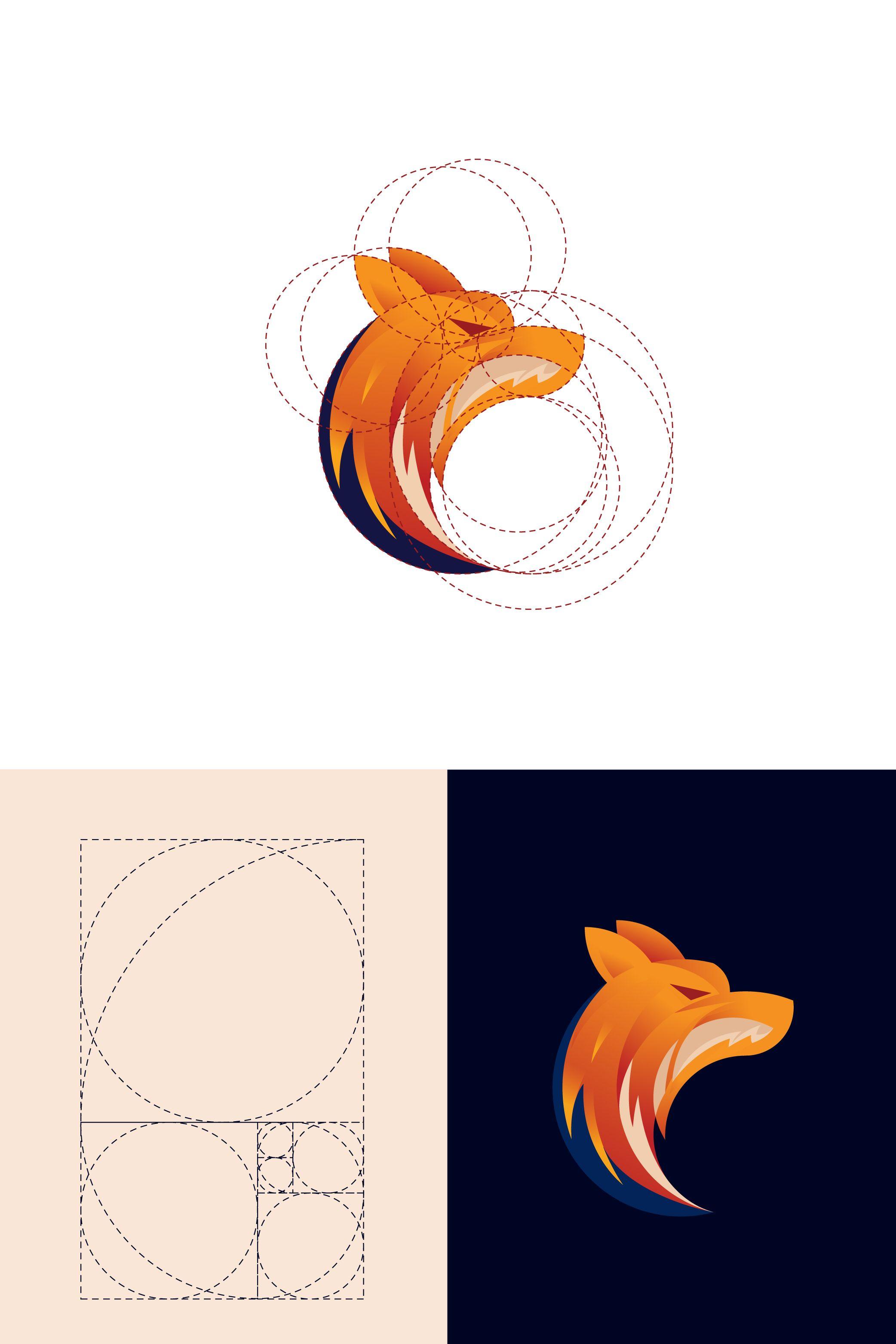 Fox logo design based on golden ratio. A tutorial i make