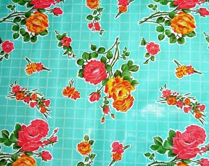 Rose Turquoise Mexican Oilcloth For My Dining Room Table