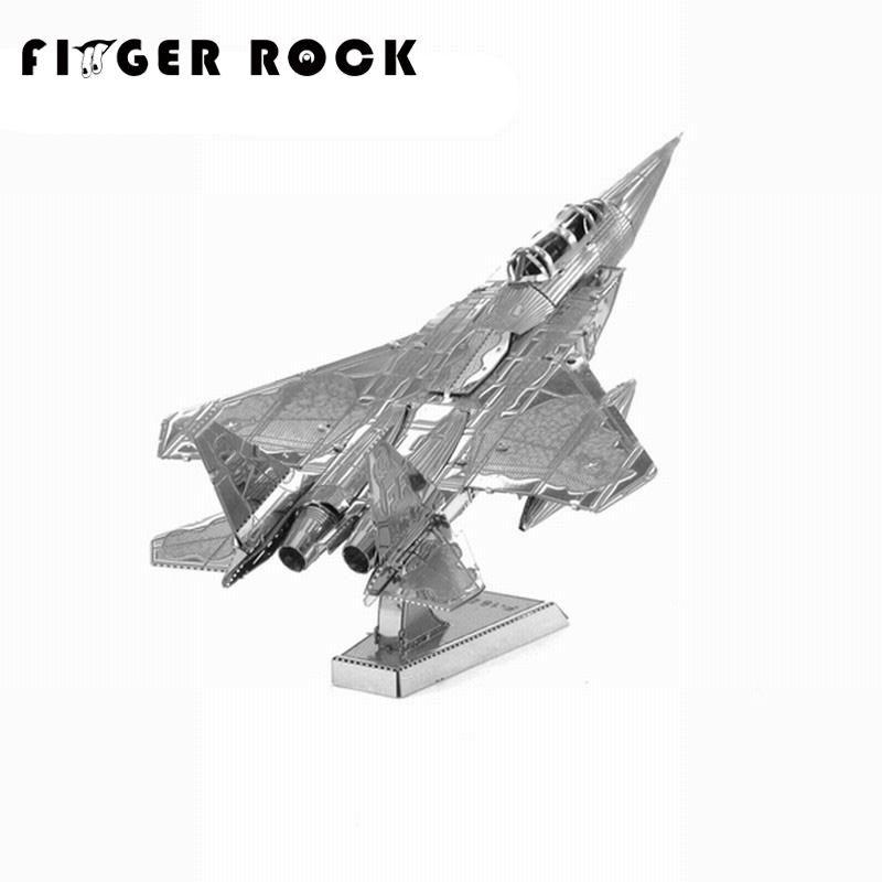 손가락 바위 교육 3d 퍼즐 금속 모델 군사 f15 전투기 비행기 아파치 헬기 퍼즐 diy 장난감 선물