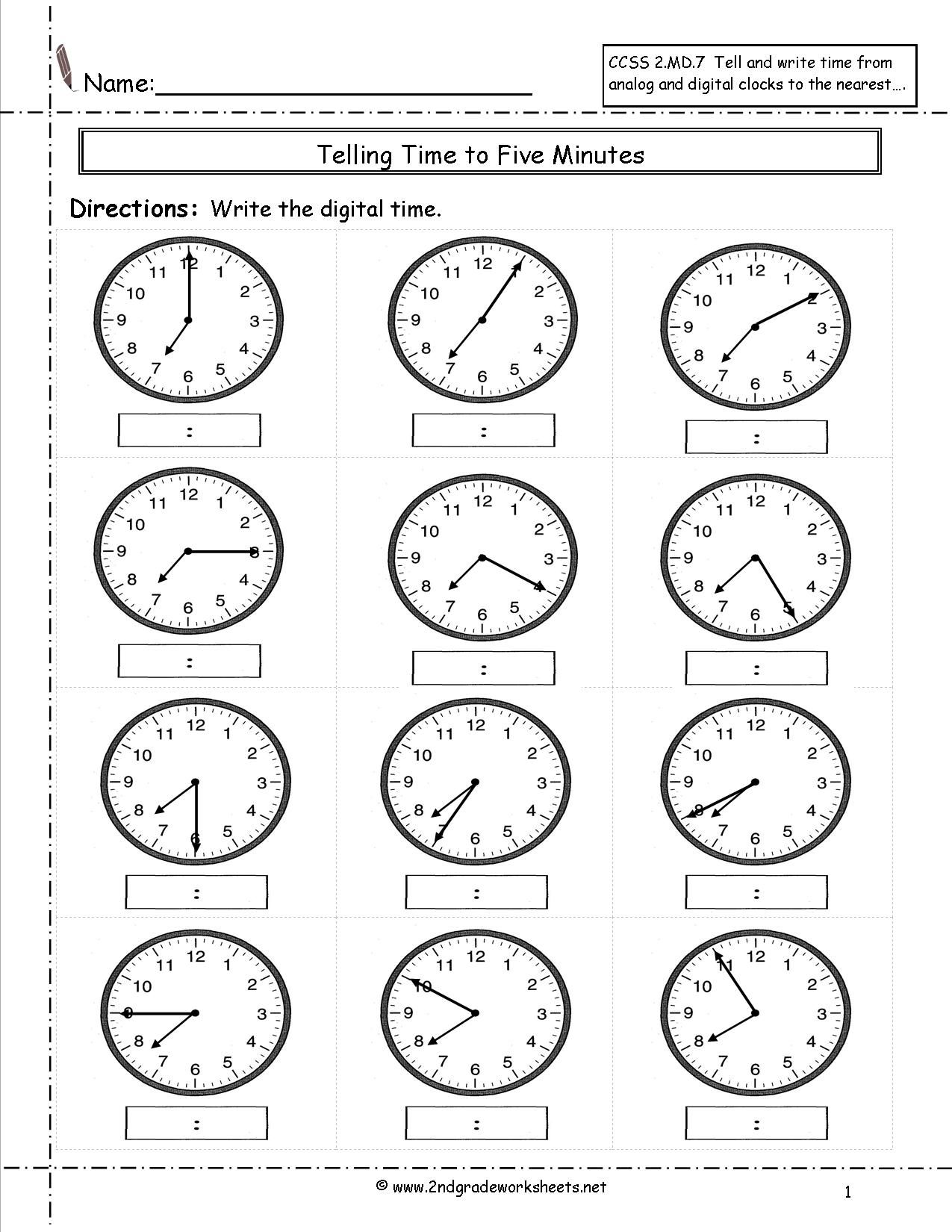 Telling Time Worksheets 3rd Grade