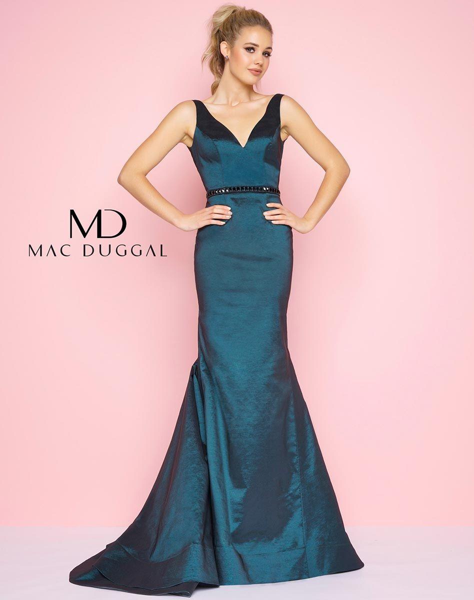 Sleeveless, deep V-neck, princess seam, shiny taffeta, mermaid dress ...