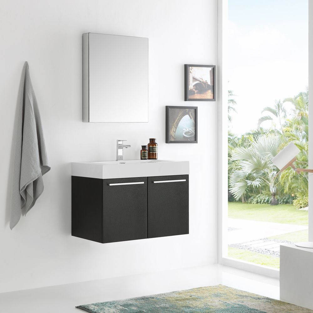 Fresca Vista 30-inch Black Wall-hung Modern Bathroom Vanity w ...