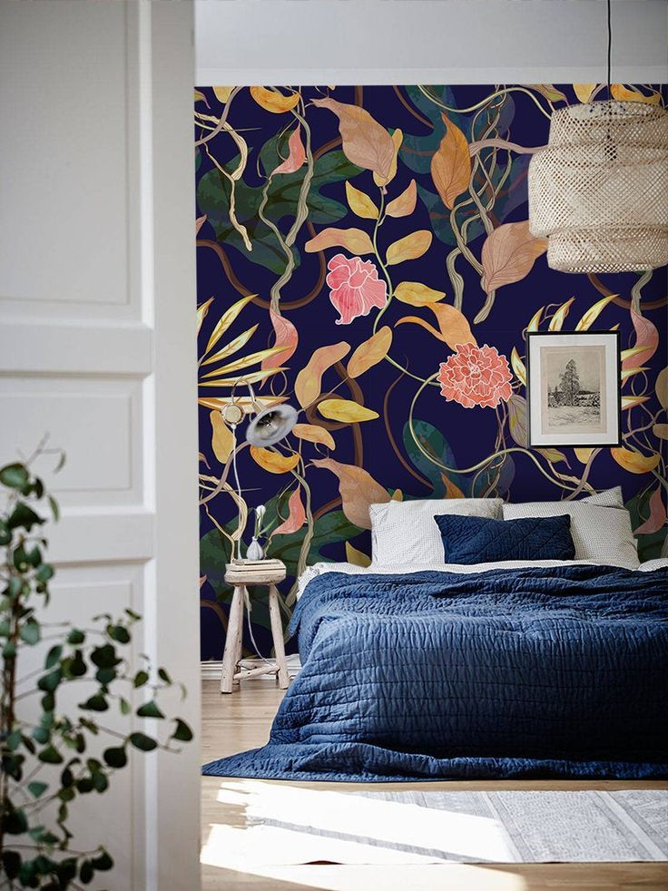 Trendy harbor theme plants removable wallpaper purple and
