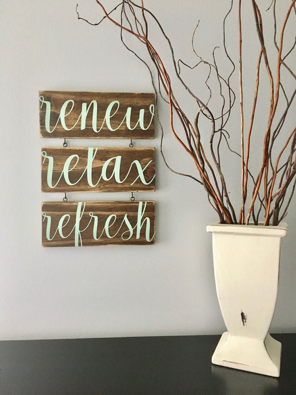 Renew Relax Refresh Spa Sign/Spa Art/Bathroom Art/Relax Sign/Bathroom