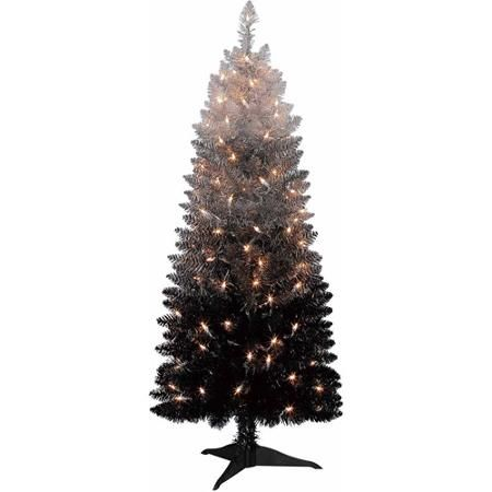 holiday time pre lit 4 cordova christmas tree silverblack clear lights walmartcom - Walmart Black Christmas Tree