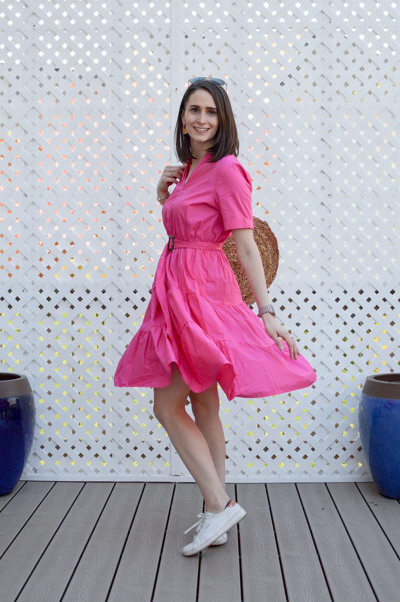 Adding Color To Your Wardrobe Breezing Through Hot Pink Dresses Pink Dress Pink Summer Dress [ 2048 x 1362 Pixel ]