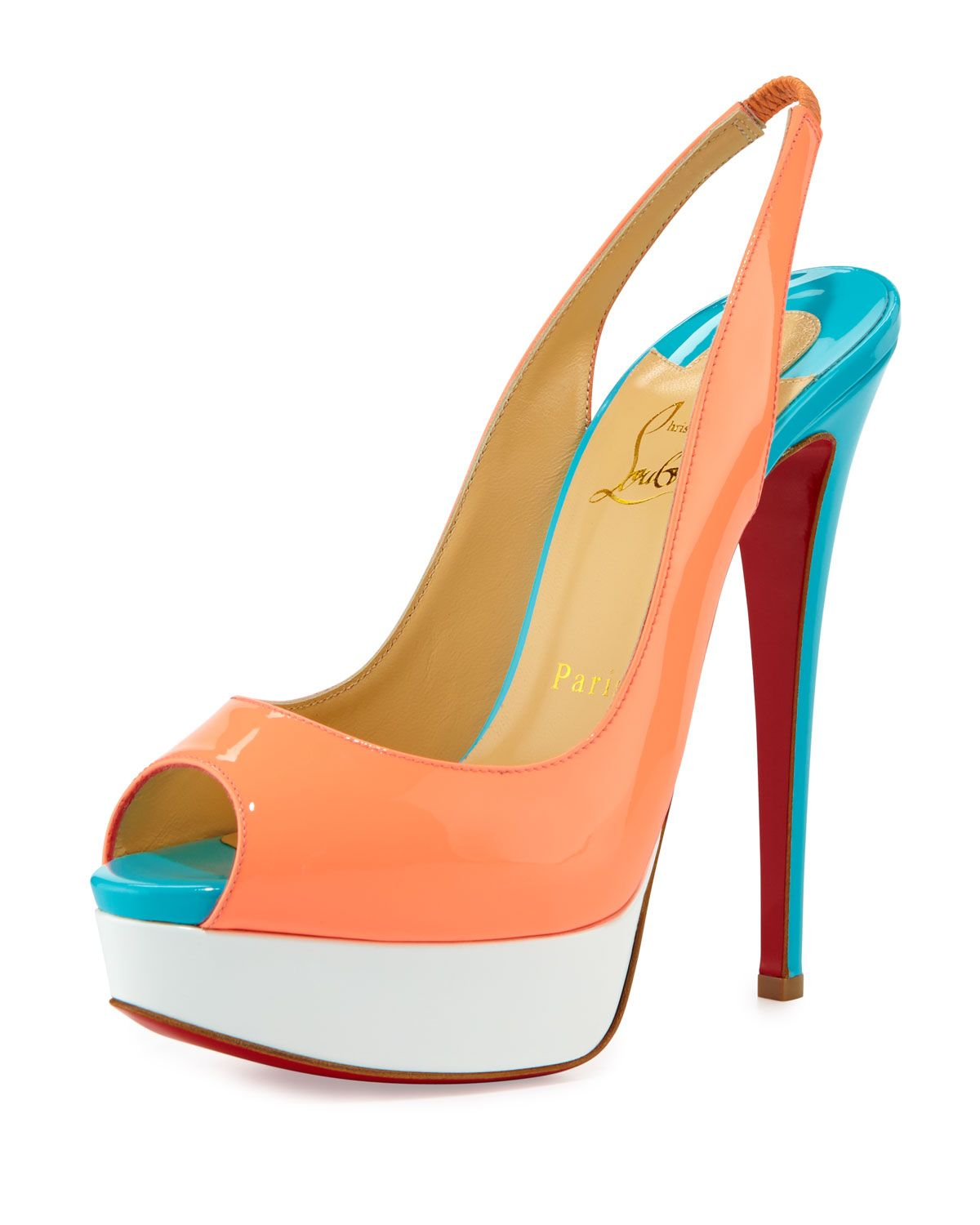 Christian Louboutin Lady Peep-Toe Slingback Red Sole Pump 615ca1be4