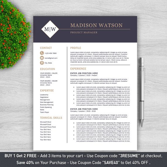 Professional Resume Template for Word 1 2 and by ProResumeDesign - coupon templates for word