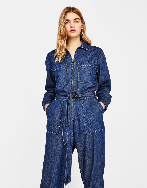 DressU Womens Mid Waist Fitted Slim Fit Washed Zipper Jean Jumpsuits Romper