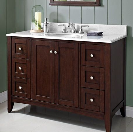 "Shaker Americana 48"" Vanity  Habana Cherry  Bathroom Remodel Awesome Cherry Bathroom Vanity 2018"
