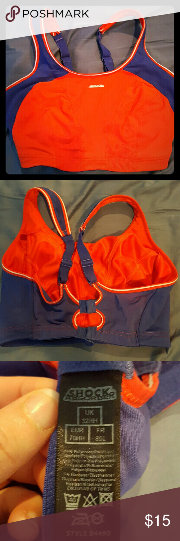 Red shock absorber sports bra Red & navy shock absorber sports bra.  Wireless. Very good condition.  32HH shock absorber  Intimates & Sleepwear Bras