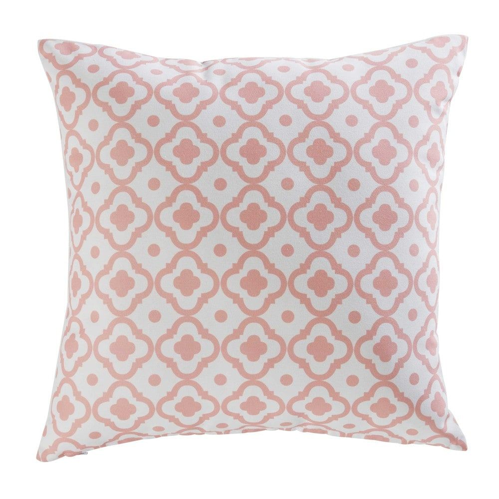 Bettsofa Maison Du Monde Jane Outdoor Cushion In Printed Pink Fabric 45 X 45 Cm Maisons