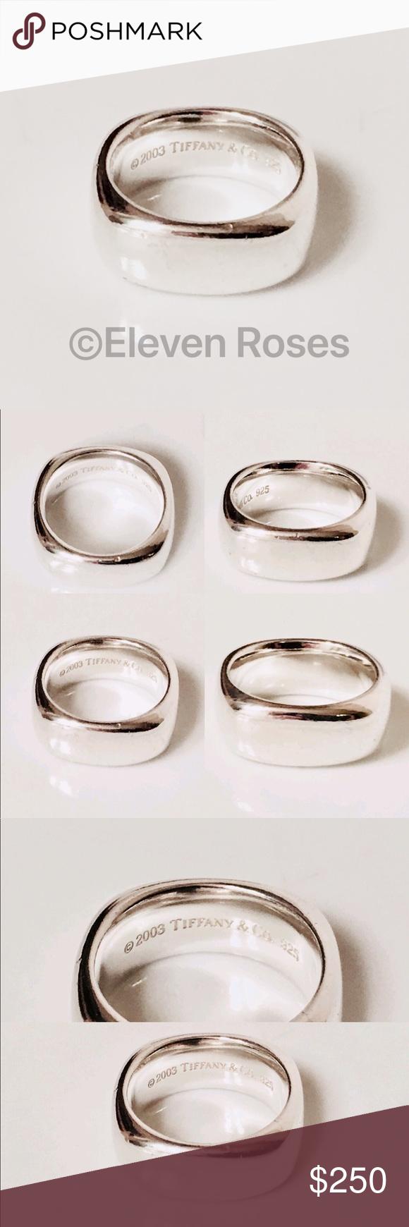 7f72ffaa2 Square Cushion Band Ring Tiffany & Co. Square Cushion Band Ring - 925  Sterling Silver - US Size 6 - Preowned W/ Lite Wear - Includes Tiffany  Pouch ...