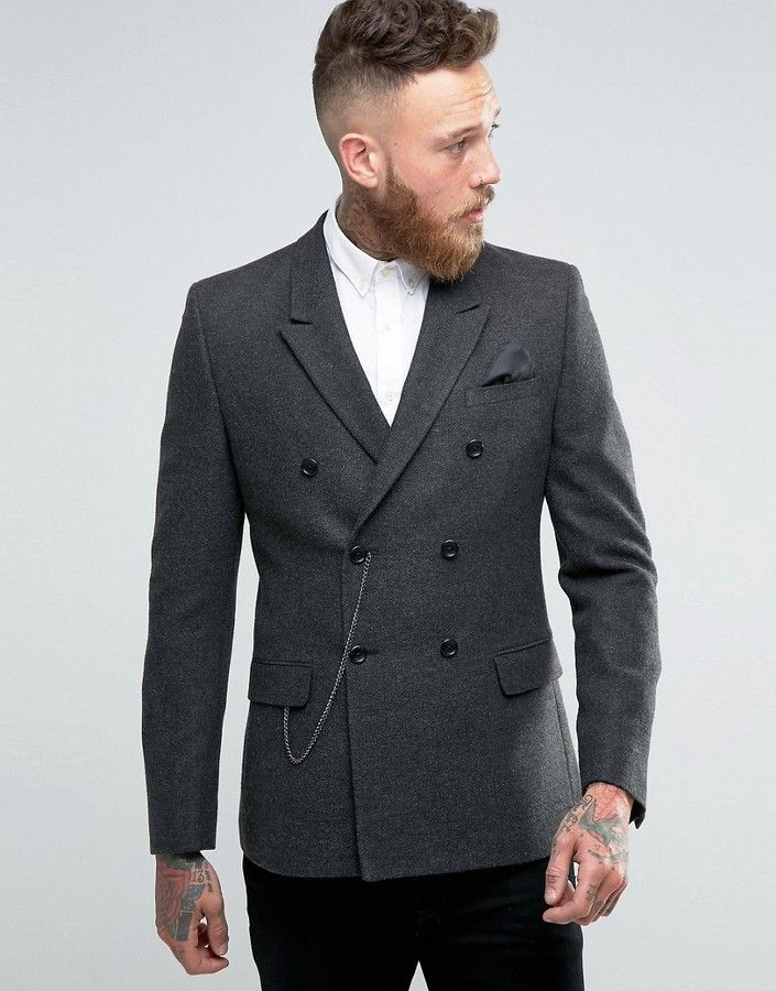 a6208b4d7adc ASOS Skinny Double Breasted Blazer in Gray Herringbone with Watch Chain