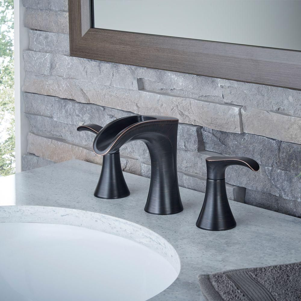 Pfister Brea 8 in. Widespread 2-Handle Waterfall Bathroom Faucet in ...
