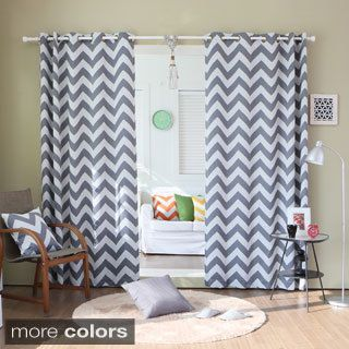 Superb Lights Out Chevron Print Room Darkening Grommet Top 96 Inch Curtain Panel  Pair