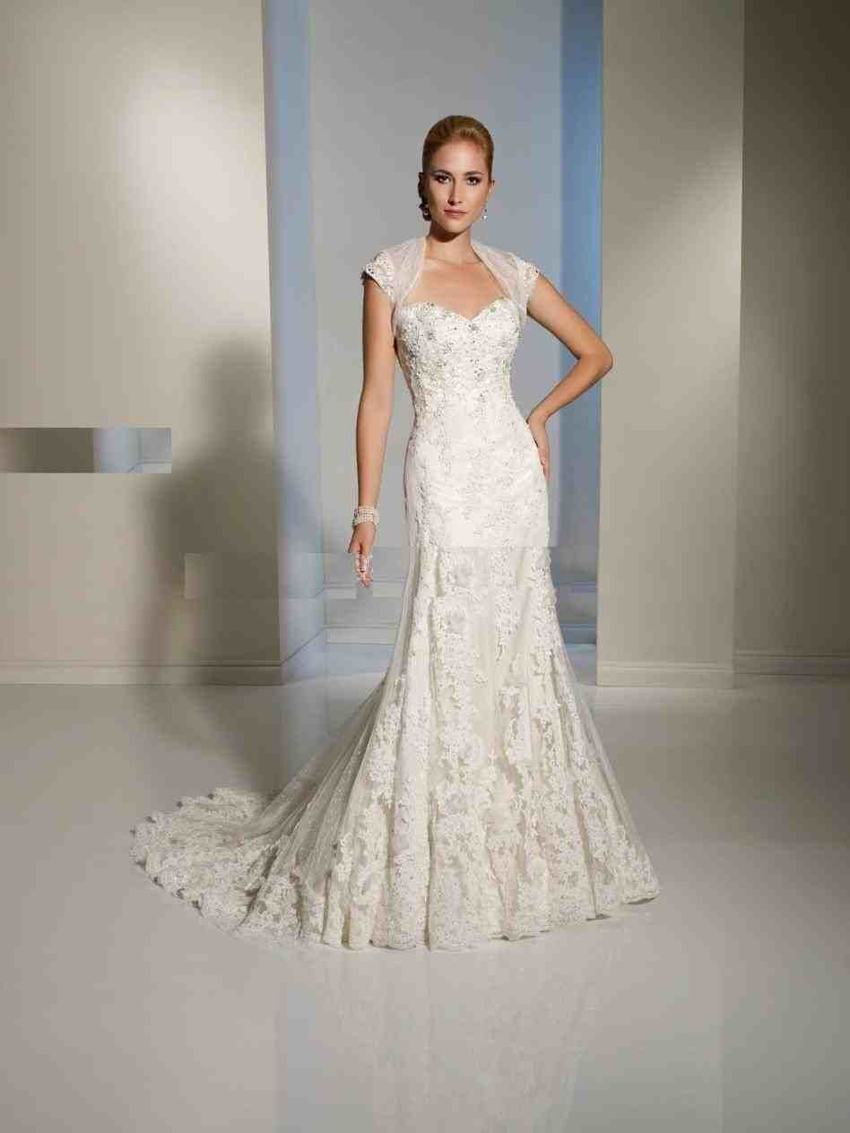 Lace mermaid wedding dresses with cap sleeves in weddings