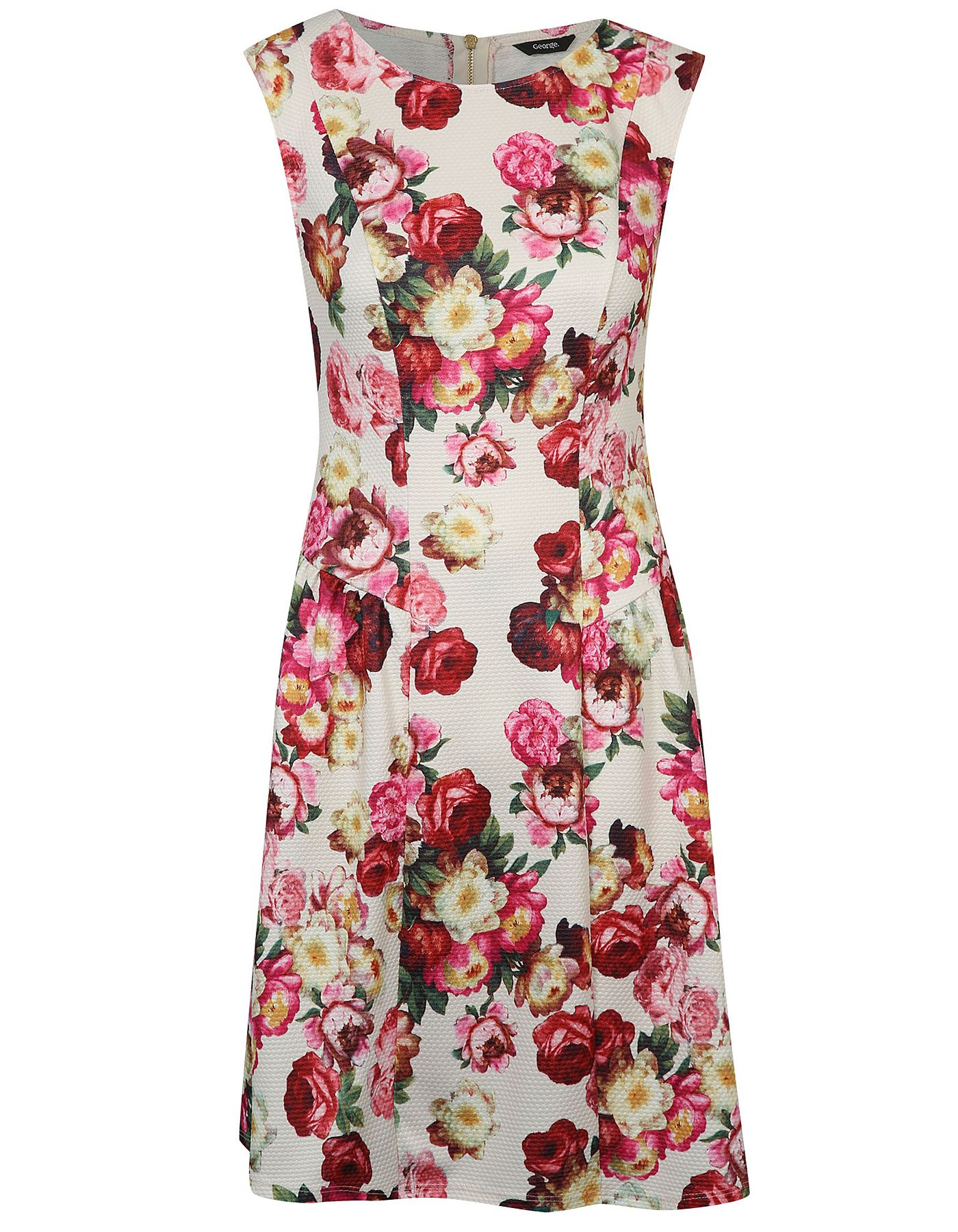 Textured Floral Print Drop Waist Fit and Flare Dress | Women ...