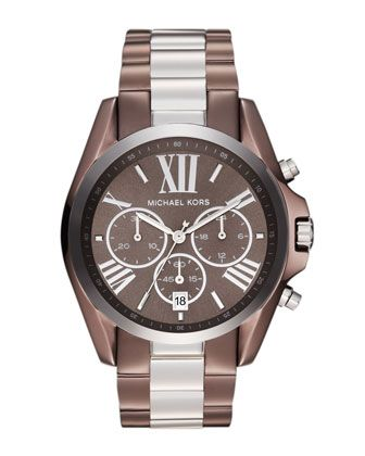 28d26c1c174a Michael+Kors+Mid-Size+Espresso+and+Silver+Color+Stainless+Steel+Bradshaw+ Chronograph+Watch.