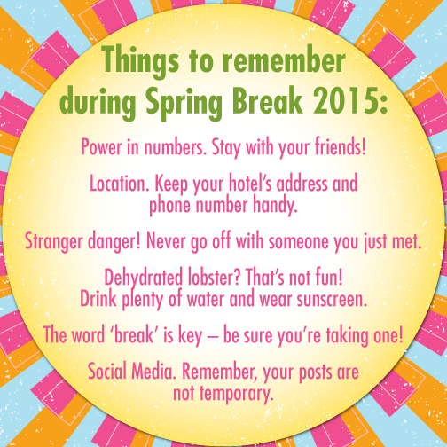 Spring break is a longstanding tradition on campuses near and far. During your week-long recess from college, make sure you're representing our Sorority in a positive light and keeping yourself safe!