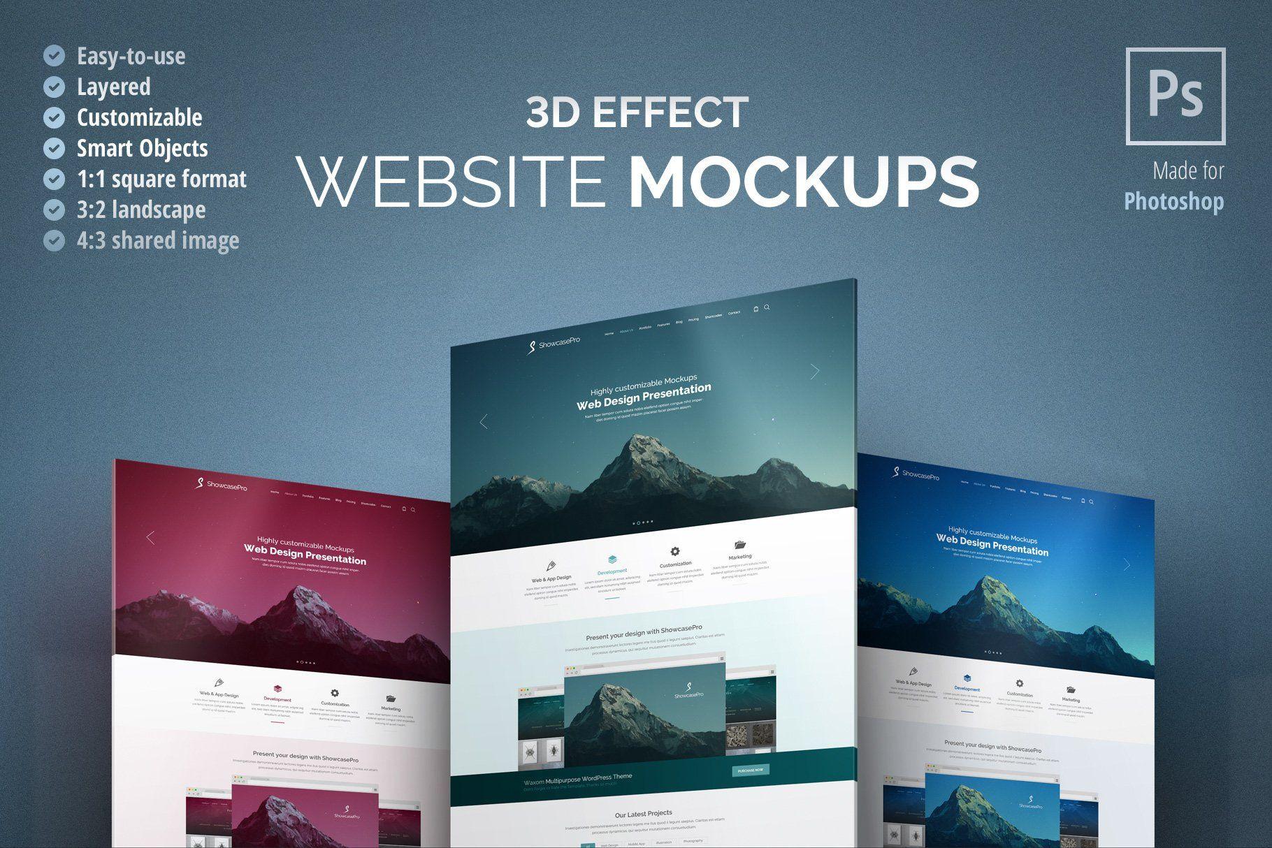 3d Effect Website Mockup Website Mockup Image Font Photoshop Landscape