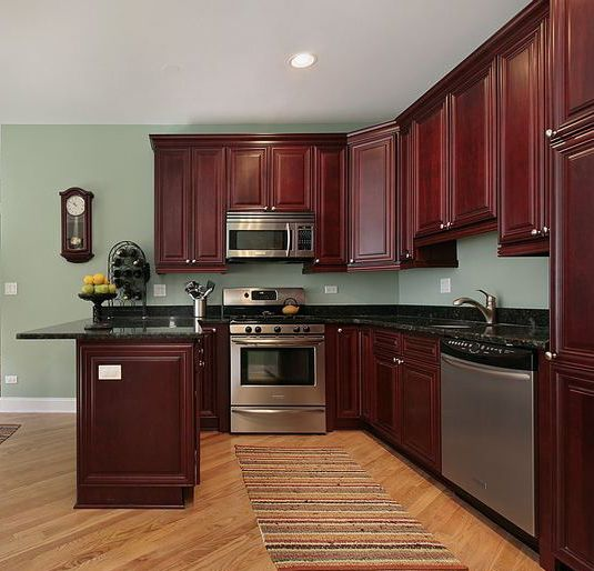 Black Kitchen Cabinets What Color On Wall: Maple Cherry Kitchen Cabinet In 2019