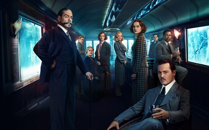 Lataa kuva Murder on the Orient Express, 2017, Kenneth Branagh, Penélope Cruz, Willem Dafoe, Judi Dench, Johnny Depp, Josh Gad, Leslie Odom Jr, Michelle Pfeiffer, Daisy Ridley