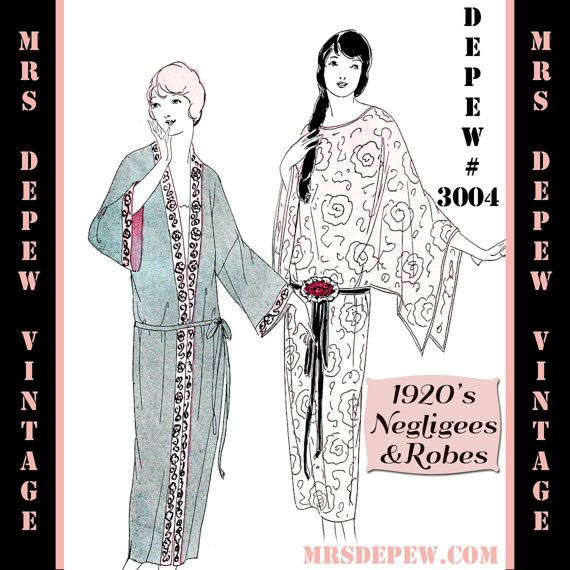 Vintage Sewing Pattern Instructions 1920\'s Flapper Basic Neglige ...