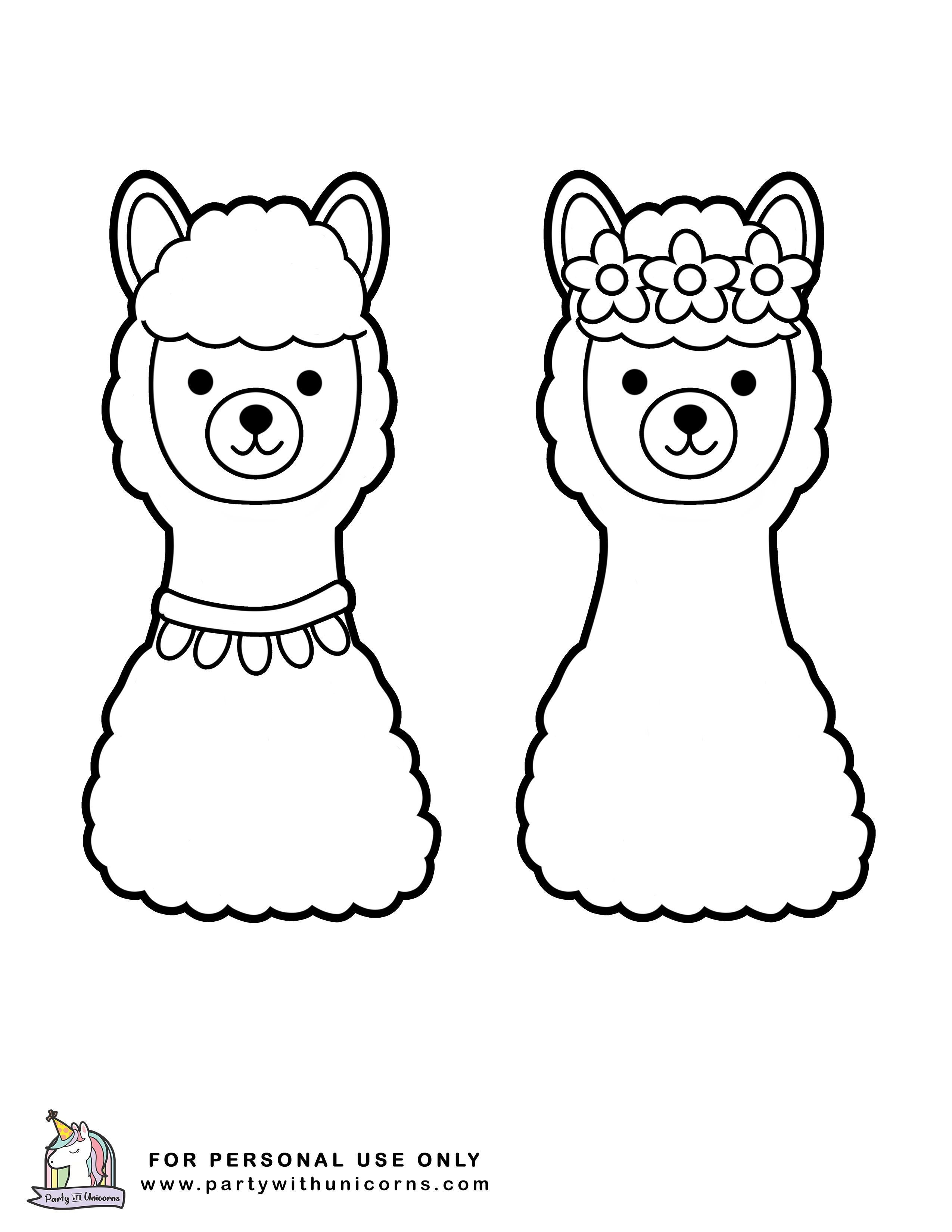 Free Set Of Llama Coloring Pages Unicorn Coloring Pages Coloring Pages Cute Coloring Pages
