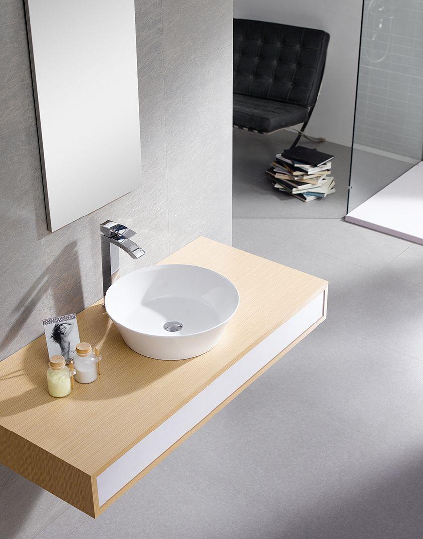Volta 42 lavabo sobre encimera porcelana blanca for Embellecedor rebosadero lavabo
