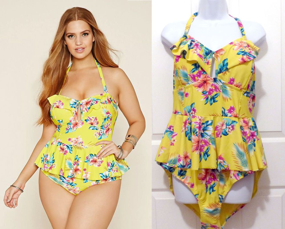 906a3b13541 Forever 21 Womens Yellow Plus Size Floral One-Piece Swimsuit Ruffles Pin-Up  3X #FOREVER21 #OnePiece