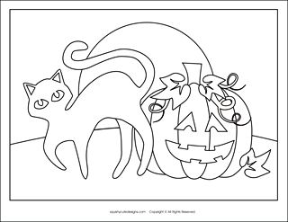 free halloween coloring pages black cat and pumpkin halloween coloring sheets