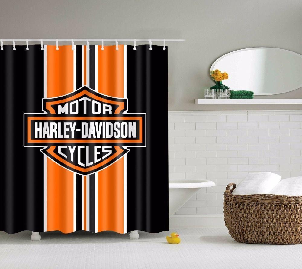 Harley Davidson Logo Home Decor Shower Curtain Bathroom Mat Fabric Waterproof Svetanya Modern Cool Shower Curtains Bathroom Shower Curtains Bathroom Decor [ 889 x 1000 Pixel ]