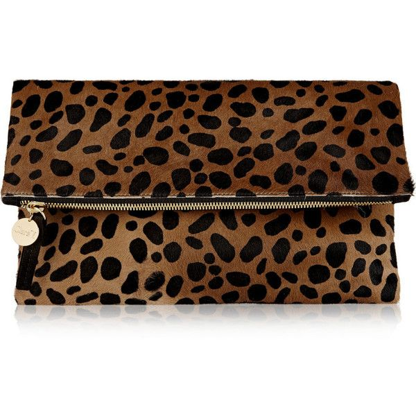 411132f64b61 Clare V Fold-over leopard-print calf hair clutch ($365) ❤ liked on Polyvore  featuring bags, handbags, clutches, bags/clutches, clare v, animal print,  ...