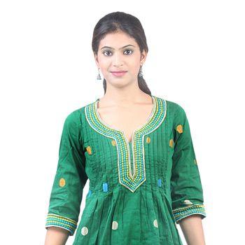 Green Cotton Readymade Tunic