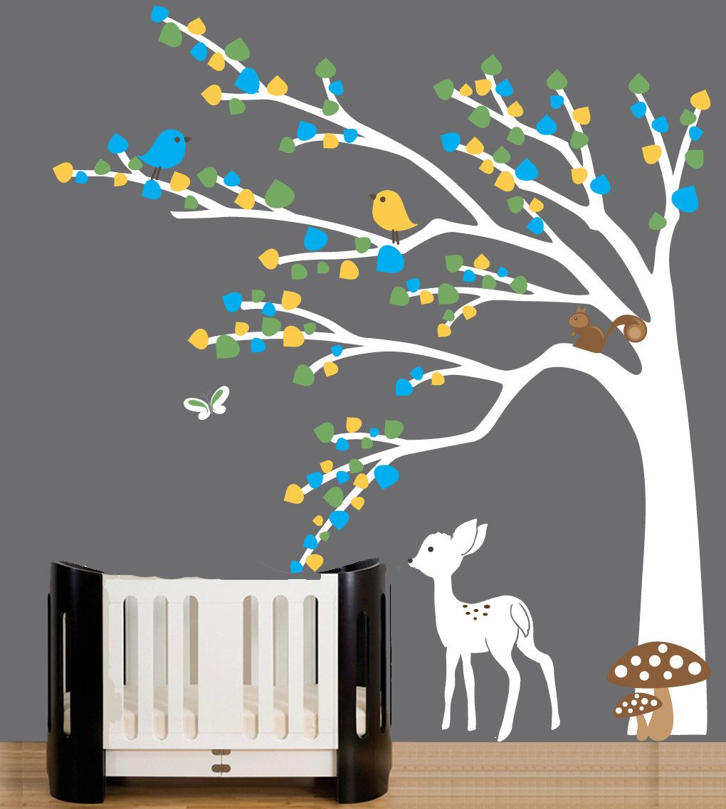 Kids forest friends wall art decal baby white tree wall decal
