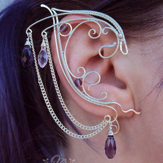 Wire Wrapped Elf Ears Topaz and Green