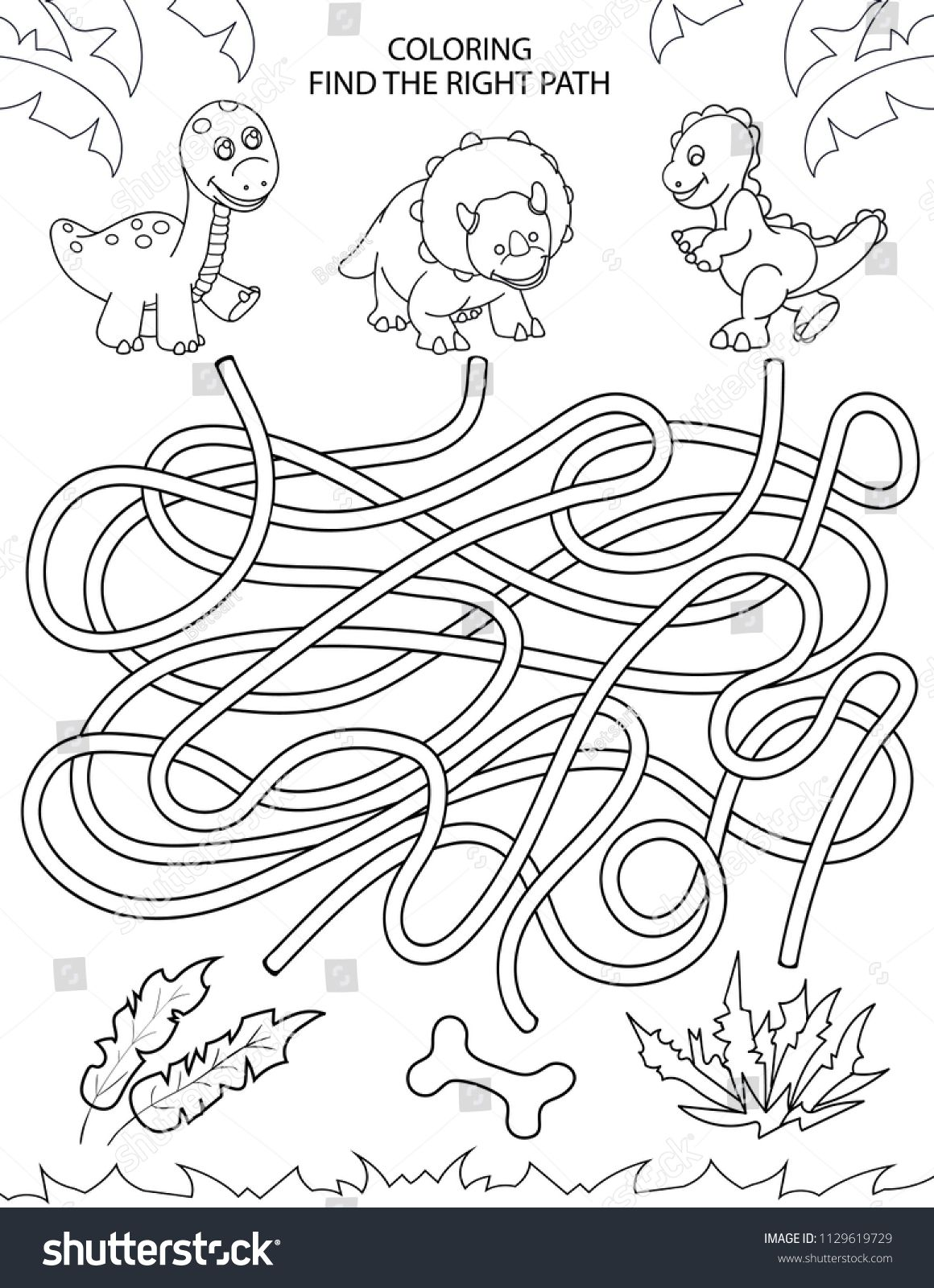 Children Maze And Coloring Kids Labyrinth Game And Activity Page Find The Right Path Fo Dinosaur Activities Preschool Dinosaur Unit Study Dinosaur Worksheets