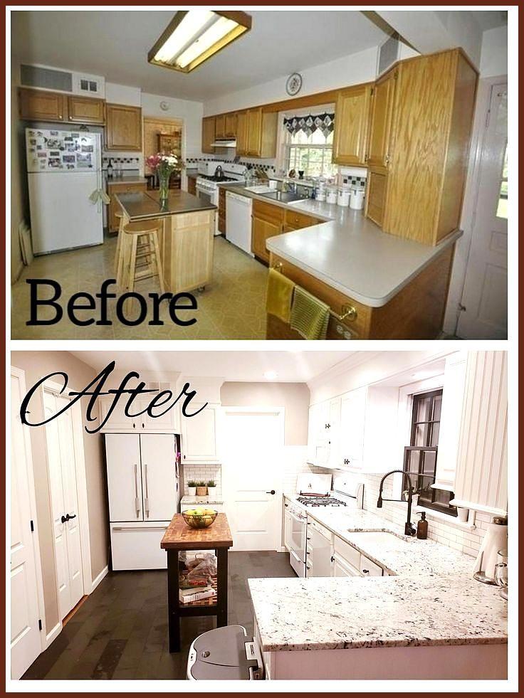 Küche vorher / nachher Eiche weiß lackiert Schränke White