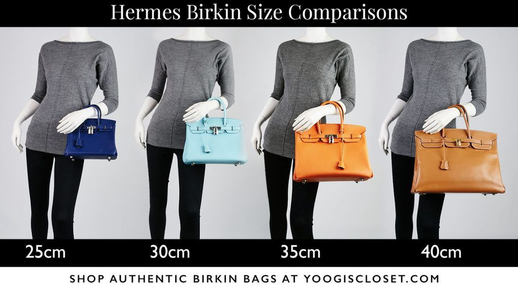 594450e739 Not sure if you want a 25cm, 30cm, 35cm or 40cm Birkin? Compare Hermes  Birkin Sizes at Yoogi's Closet. THE destination for authentic Hermes Birkin  bags.