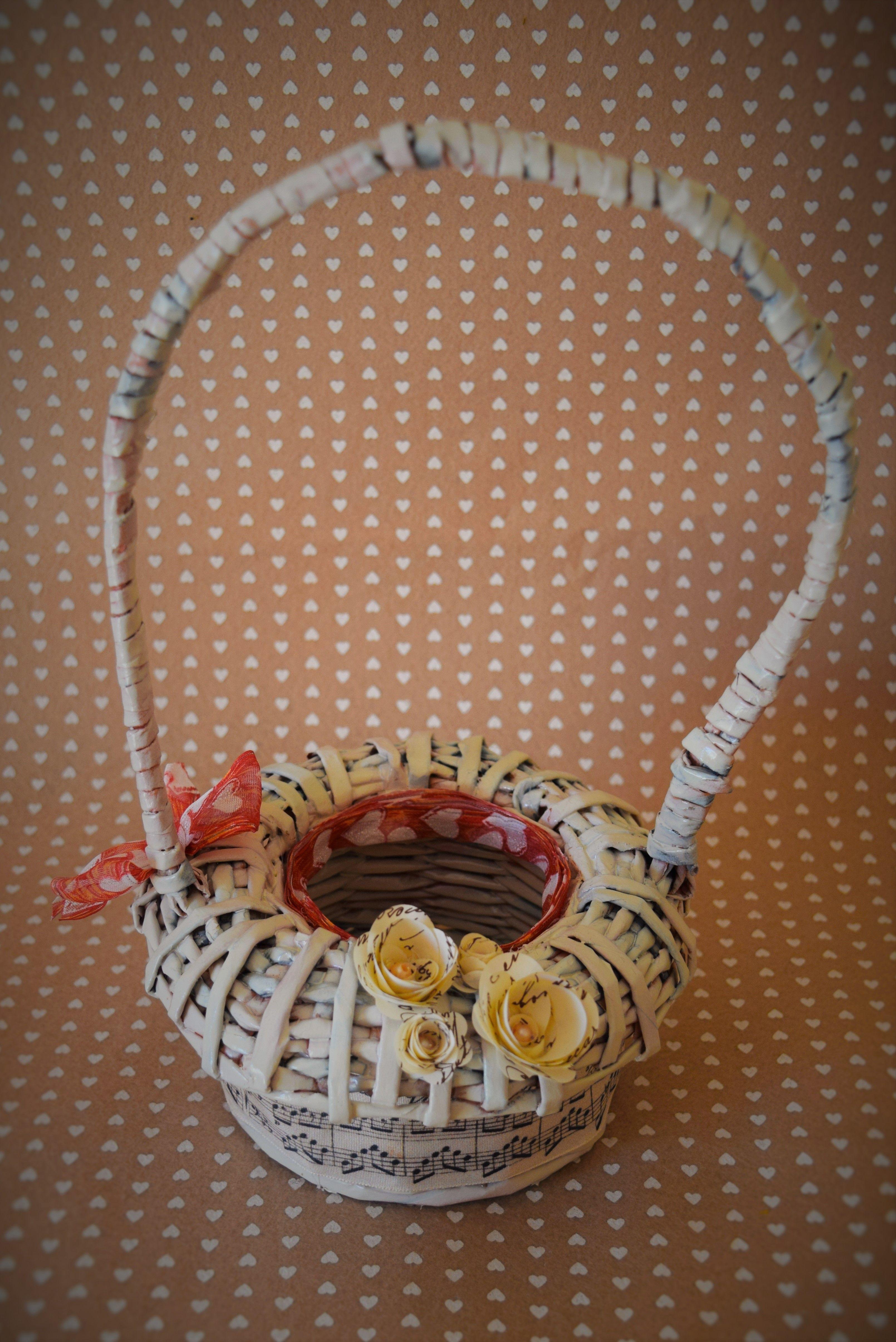Cestino porta pianta grassa in carta intrecciata con nastro in raso e rose di carta