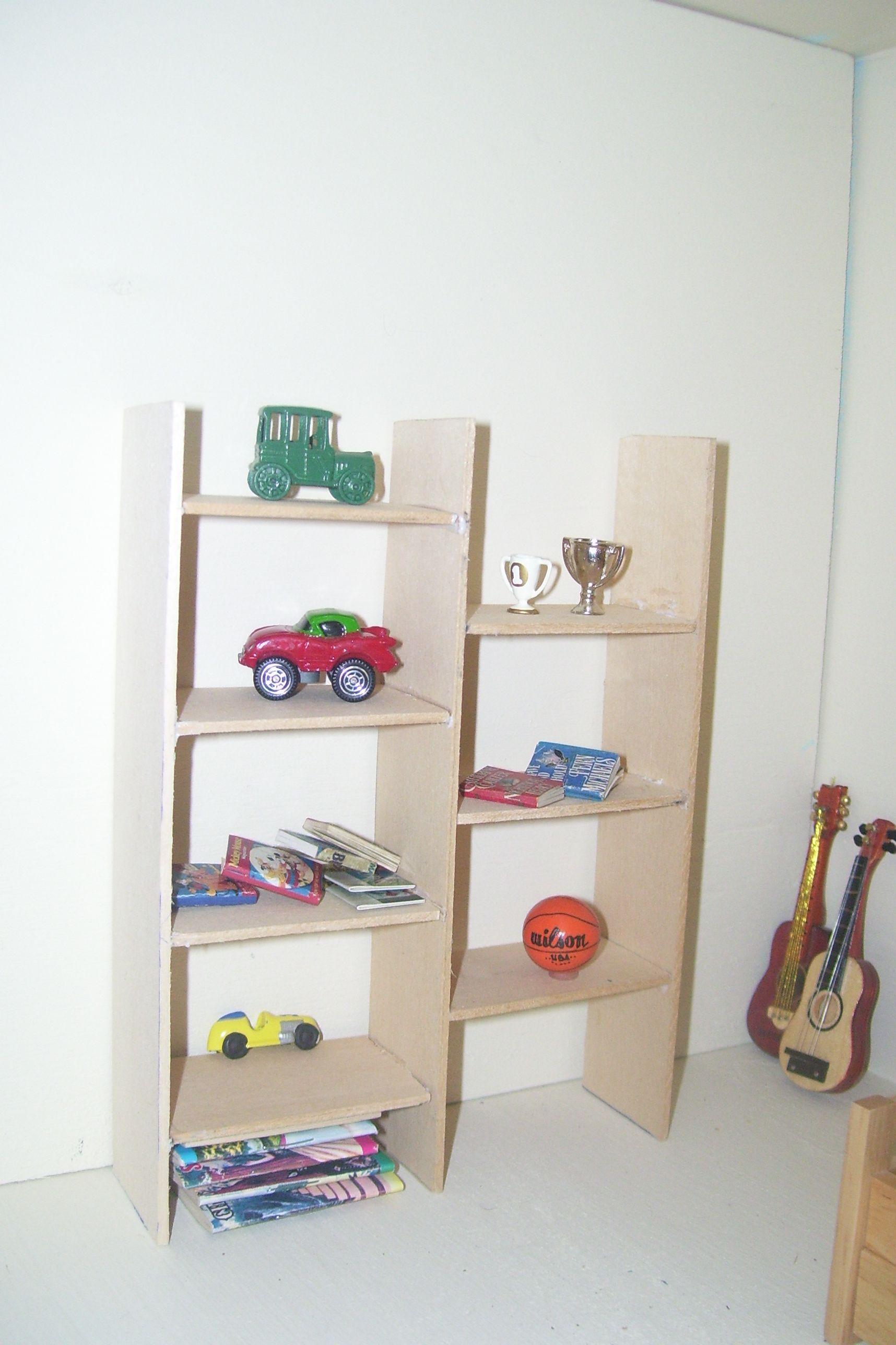 made the dollhouse kids a shelf for their toys Dollhouse