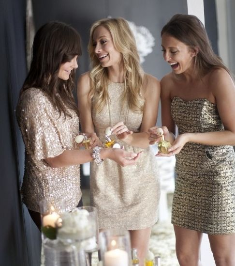 Sparkly gold party dresses + tops